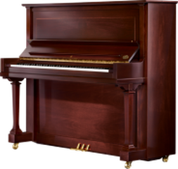 Upright piano made with polished wood tones.